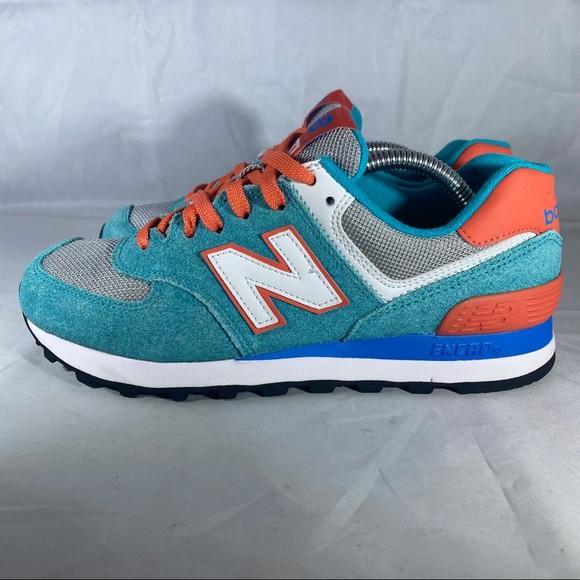 New Balance Classic 574 Turquoise/Aqua Orange